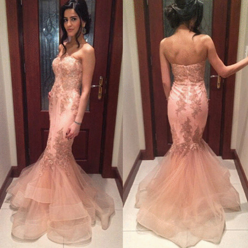 Sexy Mermaid Off the Shoulder Prom Dresses 2017 Sweetheart Backless  Sleeveless Appliques Beadings Floor Length Baby 060778765
