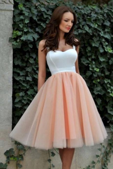 Simple Square Knee-Length Graduation Dress,A-line Tulle Blush Homecoming Dress,Sweetheart Sweet 16 Cocktail Dress,Homecoming Dress